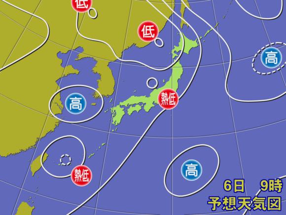 【予想天気図】6日午前9時